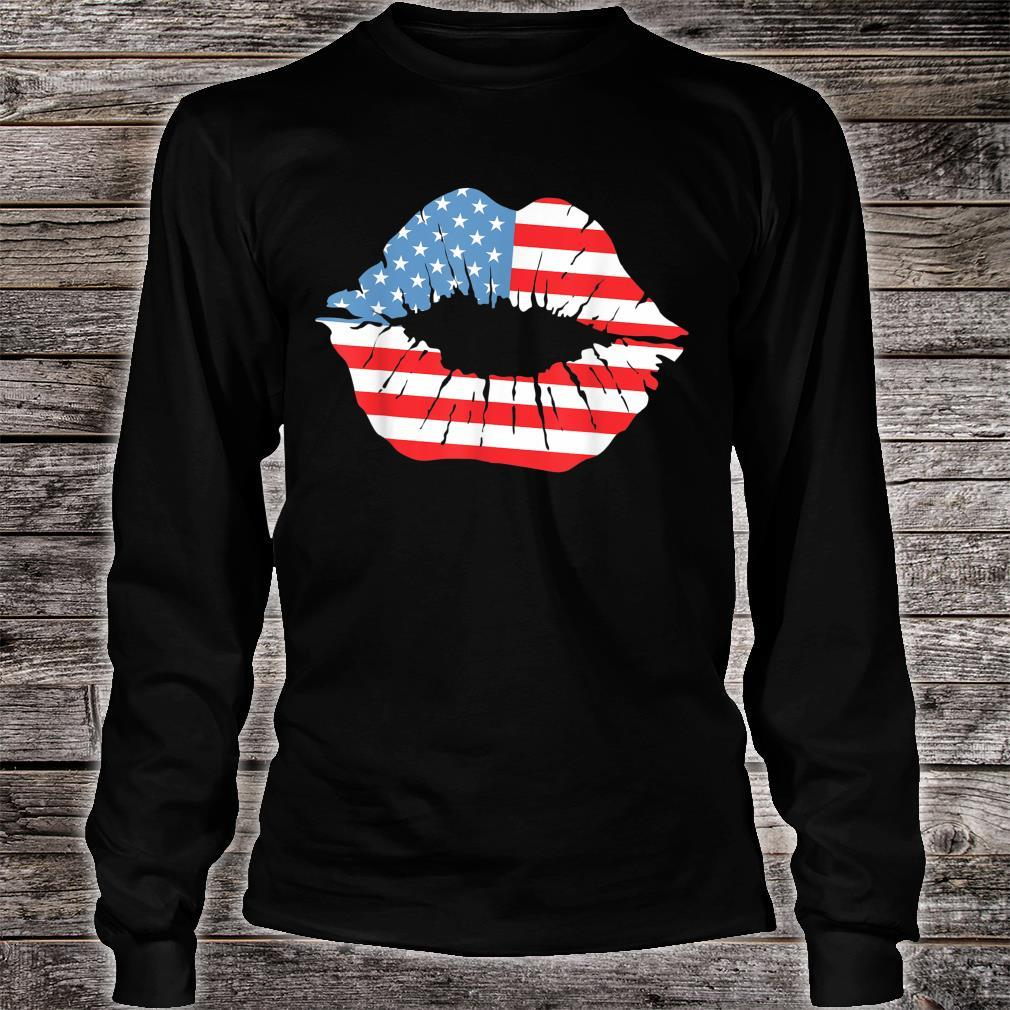 Red White Blue Lip Kiss Independence Day July 4th Shirt long sleeved