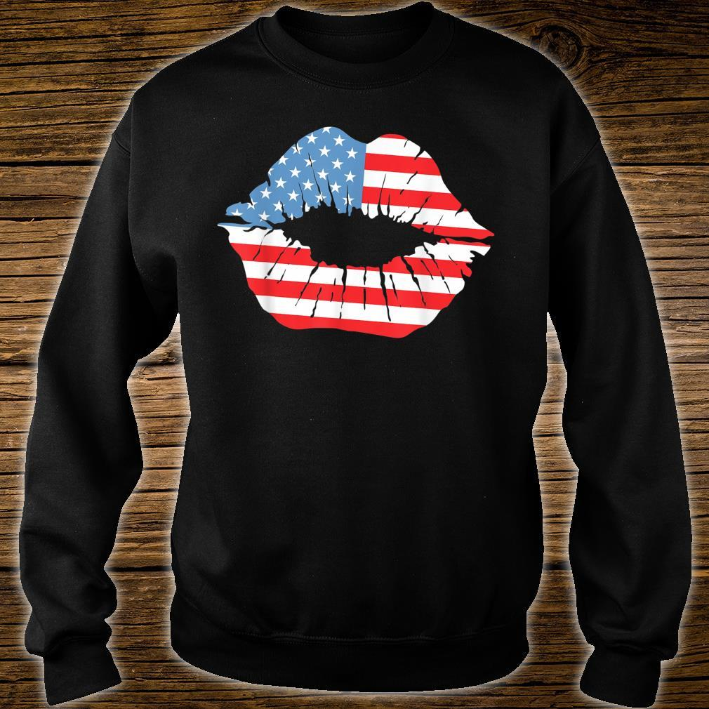 Red White Blue Lip Kiss Independence Day July 4th Shirt sweater